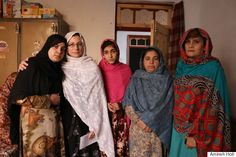 Amineh with sisters and the mother of two boys killed (age 15 and 19) in the Peshawar school attack.