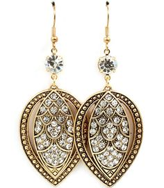 Antique gold and crystal dangle earrings