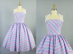 1950s cotton striped halter dress/ 50s pink and purple