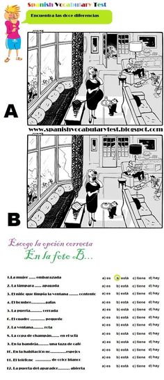 Spanish Test: Spanish Vocabulary Test: Spot the twelve differences. Ser, Estar, Haber y Tener A1