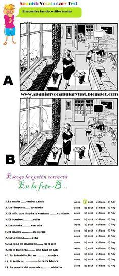 Spanish Test: Spanish Vocabulary Test: Spot the twelve differences. Ser, Estar, Haber y Tener A1