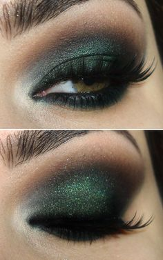 Brown and green eyeshadow
