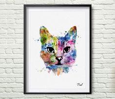 Cat Watercolor art print Cat poster wall art wall hanging Cat Art wall decor animal painting for new house wall art decor P024 by PaulArtPrint on Etsy https://www.etsy.com/listing/240906756/cat-watercolor-art-print-cat-poster-wall