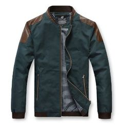 Men's Bomber Jacket with PU leather shoulder