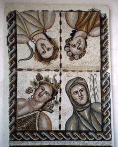 Mosaico romano de las Cuatro Estaciones de la Casa de Baco en Complutum -Alcalá de Henares, España. Verano (hoz), Primavera (flores), Otoño (vid) e Invierno (cañas)  Fines del siglo IV d.C.