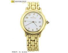 1-5-630-2-Reloj caballero Saint Gottard esfera redonda, segundero y calendario L3755 Gold Watch, Bracelet Watch, Watches, Bracelets, Accessories, Calendar, Gold, Elegant, Wristwatches