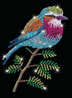 The Lilac Breasted Roller is a brand new design from our Blue range, one of our most colourful & sparkling creations to date. Dot Art Painting, Mandala Painting, Mandala Art, Art Blue, Diy Bead Embroidery, Lilac Breasted Roller, Sequin Crafts, Rooster Art, Rhinestone Art