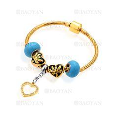 pulsera de abalorios azules con corazon en acero para mujer-SSBTG624801