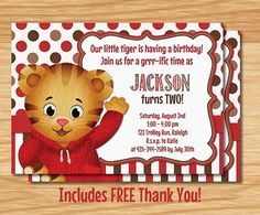 *Custom Made Daniel Tigers Neighborhood Birthday Invitation* ***************Print Sizes*************** *You choose your invitation size - 5x7