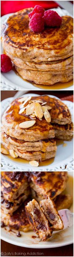 Healthy Whole Wheat Pancakes - that actually taste good. Made with Greek yogurt oats whole wheat flour and not much else.Healthy Whole Wheat Pancakes - that actually taste good. Made with Greek yogurt oats whole wheat flour and not much else. Breakfast Desayunos, Healthy Breakfast Recipes, Healthy Pancake Recipe, Simple Healthy Recipes, Healthy Snacks, Pancake Recipes, Yogurt Recipes, Breakfast Options, Healthy Breakfasts