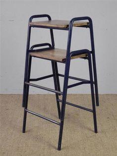 *15 AVAILABLE* Vintage Industrial Stacking School Lab Cafe Bar Stools (£30+VAT) in Home, Furniture & DIY, Furniture, Stools & Breakfast Bars | eBay H64cm x W 43 cm
