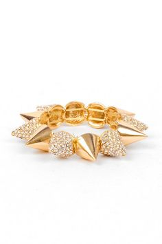 """Bijoux: Pave Spiked Bracelet - $22    Spiked pave gold bracelet with elastic band  Imported  Color: Gold, Silver  Approximate circumference: 8"""""""