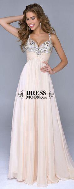 Spaghetti Gown V Neck Shinning Beadings With Beaded Bodice Prom Dress #promdress #balldress