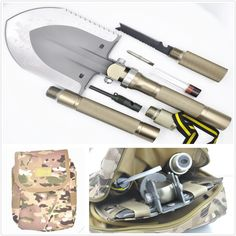 Multi-function Folding Shovel+Portable Camouflage fatigues bag Axe Hoe Hammer Knife Fire Flint Whistle Camping Hunting Self Driving Tourniquet Solo Snowberg Survival Tool