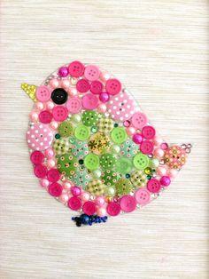 Baby Bird Button Art Nursery Artwork Pink by AmeliaMakesThree