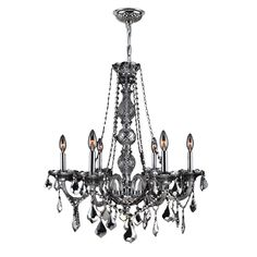 Venetian Italian Style 6-light Chrome (Grey) Finish and Smoke Crystal 24 x 28-inch Chandelier (6 Light Chandelier) (Brass)