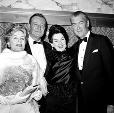 """Jimmy Stewart with John Wayne, Rosalind Russell and Irene Dunne at the premiere of """"How The West Was Won"""""""