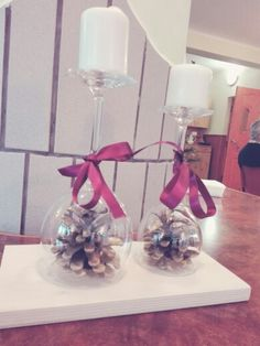 Love the Glass cone candle christmas decoration simply made at home