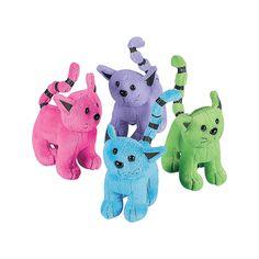 For pet adoption party:   Plush Colorful Cats - OrientalTrading.com $15.99 per dozen
