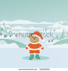 Cute teddy bear wearing a Santa suit on a snowy winter landscape.| ID:346299059. Copyright: Amalia Ferreira Espinoza.  animal, art, artwork, bear, blizzard, celebrate, celebration, christmas, cold, creature, cuddly, december, decorate, decoration, design, drawing, event, festive, fluffy, gift, giving, hat, holiday, illustration, magical, merry, mountains, new, occasion, orange, ornament, party, picture, season, snow, soft, teddy, toy, trees, white, winter #illustration #stockimage AFE Images