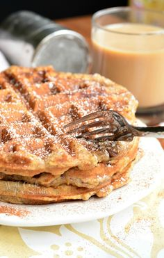 Cinnamon Peach Oat Waffles | from willcookforsmiles.com