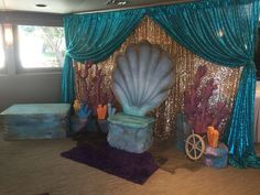 Mermaid theme baby shower for baby Bella | CatchMyParty.com
