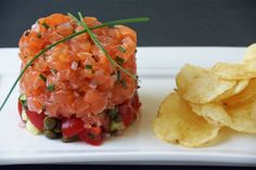 Summer Salmon Tartare with Tomatoes, Capers & Cucumbers… Fish Recipes, Seafood Recipes, Appetizer Recipes, Great Recipes, Appetizers, Cooking Recipes, Favorite Recipes, Steak And Seafood, Fish And Seafood