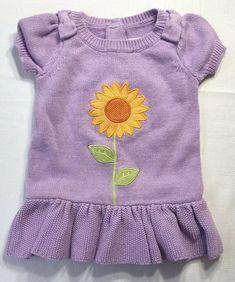 bfb4d3e79 Gymboree Baby Girls 3-6 Months Purple Sunflower Smiles Sweater Dress # Gymboree #SweaterDress