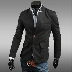 Men's Casual Blazer with Stand Collar Details