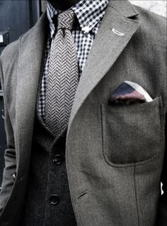 Grey 3 Piece Suit; Love The Overall Look ... idk about that shirt though, replace the pocket square too