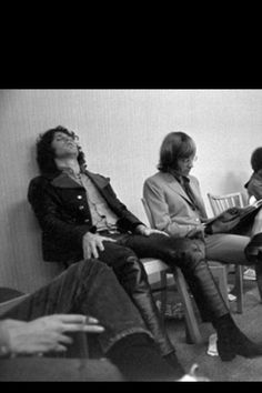Jim Morrison backstage before a concert, with Ray Manzarek.