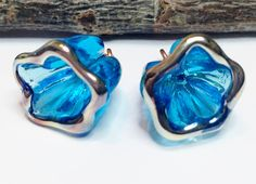 2 Lampwork Transparent Turquoise Blue Flower Charms - Medium Size Flower Beads - Made to Order by Molten Wrx