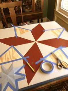 painting a barn quilt for your garden shed, crafts, painting, taping the sections off the blue painters tape bled a little so recommend frogtape Barn Quilt Designs, Barn Quilt Patterns, Quilting Designs, Block Patterns, Craft Patterns, Colchas Quilting, Scrappy Quilts, Wood Projects, Craft Projects