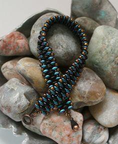 Superduo Lentil Band Bracelet Cuff Bracelet by ReggiesCreations