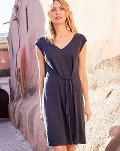 021a0fd4e4 Garnet Hill Organic-Linen Jersey Tie-Waist Dress - L(12-14