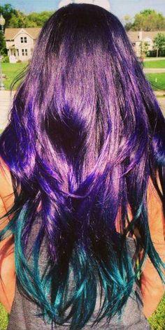 Vibrant hair. Black, purple and teal ombré.