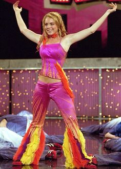 One of my fave outfits from Confessions of a Teenage Drama Queen! Pink...sequins and multi coloured flares! Wow