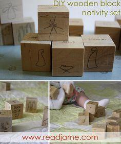 wooden block nativity