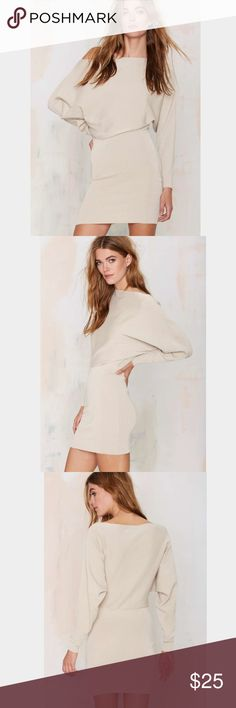 Lioness beige Sweater  Dress Brand New from Nasty Gal or associated brand. New without tags. All items are authentic. Please refer to Nastygal.com for sizing or reviews if this listing doesn't give you the exact measurement your looking for. I'll be happy to answer any questions.   No Trade 📍 Nasty Gal Dresses Mini
