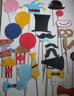 PHOTO BOOTH PROPS: fun at the circus 2       there are 26 nice size pieces. $43.25, via Etsy.
