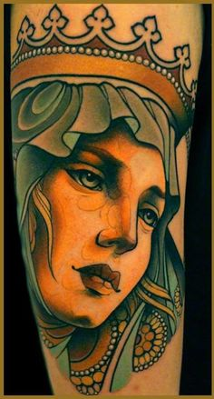 "I love this style on the queen head tattoo by Lars ""Lu's Lips"" Uwe."