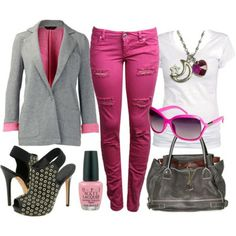 what to wear with hot pink skinny jeans | Blonde Fashionista's blog