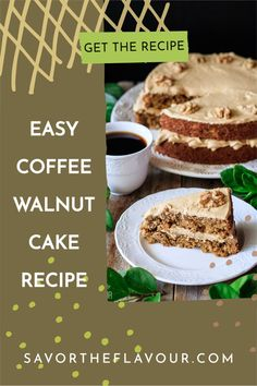 Easy coffee and walnut cake is a moist layer cake that's a wonderful treat for birthdays and celebrations. This recipe shows you how to make two layers of fluffy sponge and a delicious coffee buttercream. The crunch of walnuts make this English treat amazing! Coffee And Walnut Cake, Coffee Buttercream, Easy Coffee, Cake Recipes From Scratch, Dessert Recipes, Desserts, Something Sweet, Homemade Cakes, Afternoon Tea