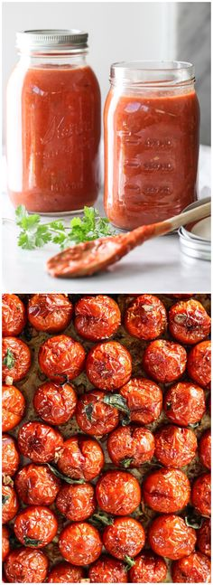 Simple Roasted Tomato Sauce to savor those sweet summer tomatoes all year long #recipe on foodiecrush.com