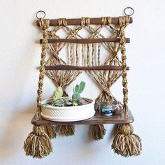 Bohemian Style Hanging Macrame Shelf, Plant Holder or Mug Rack, Hippie Earthtone Solid Wood Shelf