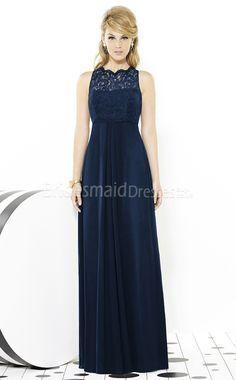 Dark Navy Scalloped Neck Lace , Charmeuse Bridesmaid Dress UKBD03-1360