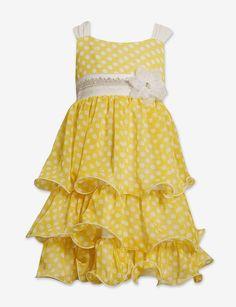 1897f3bbead Bonnie Jean Polka Dot Tiered Chiffon Dress - Girls Deals on - Bonnie Jean  Sleeveless Printed Chiffon Coupons