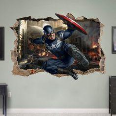 CAPTAIN AMERICA 3d Wall Sticker Smashed Bedroom Kids decor Vinyl Super Hero Art Room DECAL Removable Mural Childrens Game Avengers Movie