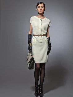 Wool cap sleeve dress with jade bamboo buttons - perfect for Fall!!