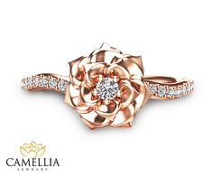 Camélia fleur Ring 14K Rose Gold Diamond Ring Rose Gold
